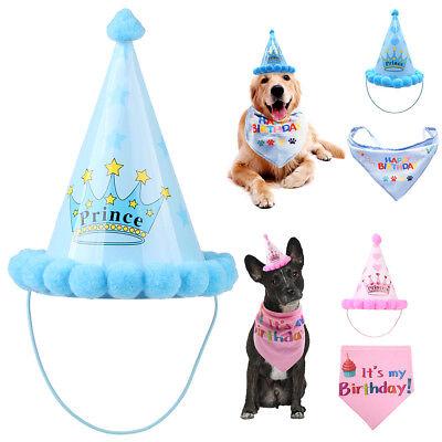 Pet Cat Dog Happy Birthday Party Crown Hat Puppy Bib Collar Cap Headwear Costume