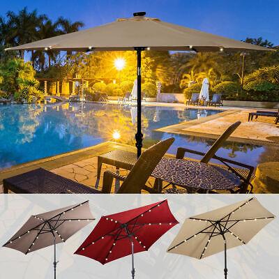9FT Patio Solar Umbrella LED Patio Market Steel Tilt W/ Crank Outdoor GOPLUS New