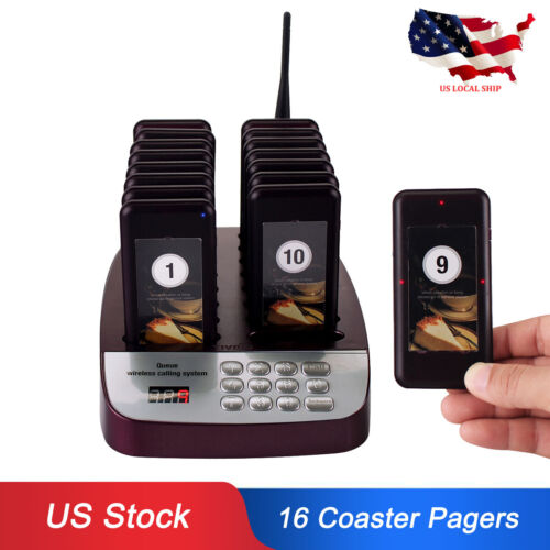 T113 Restaurant Cafe Shop Wireless Calling Paging System 16Coaster Pagers 433MHz