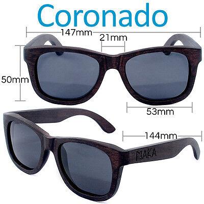 Coronado Polarized Ebony Wayfarer Sunglasses Wooden Black Wood Sun Glasses (Wooden Wayfarers)