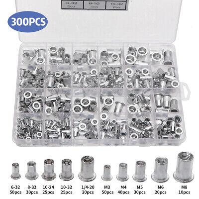 300pcs Aluminumrivet Nutkit 150pcs Metric150pcs Sae Rivnut Nutsert Assort
