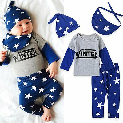 (4pcs Newborn Infant Baby Boy Girl T-shirt Tops+Pants+Hat+Bib Clothes Outfits Set)