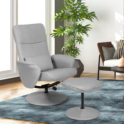 Massage Recliner Couch Lounger Fabric Swivel Chair with Ottoman Home Light Grey Fabric Swivel Chair