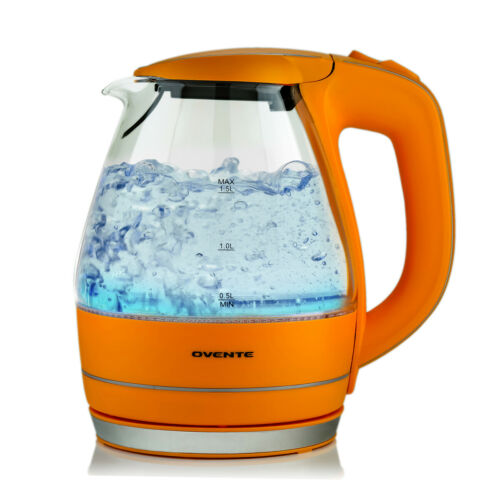 Ovente Electric Hot Water Portable Glass Kettle with Filter 1.5L Orange KG83O