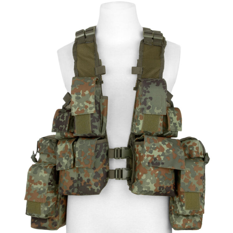 MFH South African Assault Vest Army Cargo Pouches Patrol Tactical Flecktarn Camo