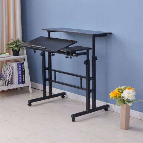 adjustable height sit stand computer desk mobile