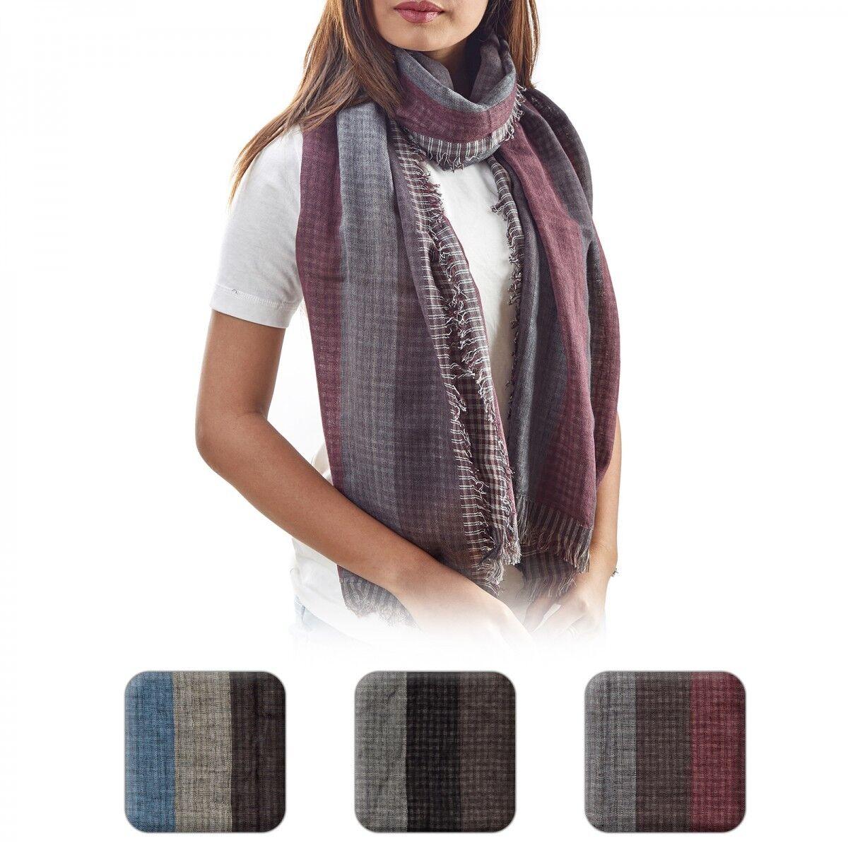 Schal für Damen Frauen Hals Tuch Streifen Karo Muster gestreift kariert dünn