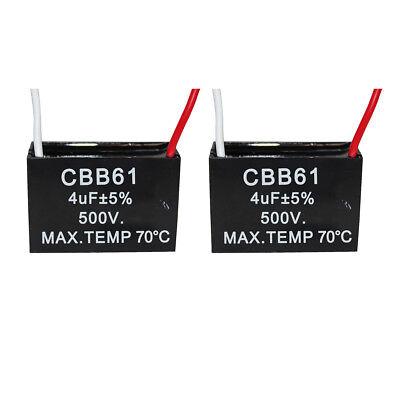2PCS 4UF 500V CBB61 Ceiling Fan Motor Running Capacitor 2 Wire 50/60 Hz