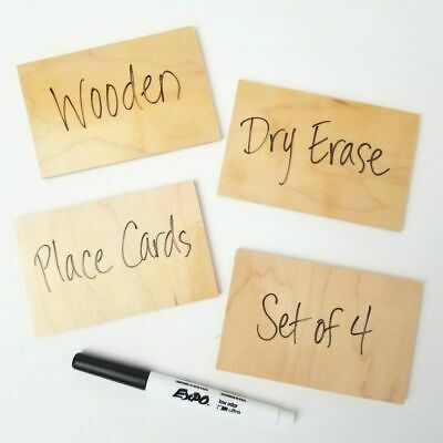 Rectangular Wooden Dry Erase Place Cards - Set Of Four 4