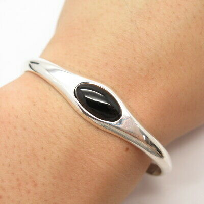 """925 Sterling Silver Vintage Mexico Real Black Onyx Gem Bangle Bracelet 6 3/4"""""""