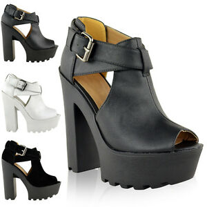 LADIES-WOMENS-CHUNKY-CLEATED-SOLE-HIGH-HEEL-PLATFORM-CUT-OUT-BOOTS-SHOES-SIZE