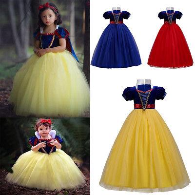 Snow White Costume Princess Gown Tutu Dress Girls Kids Cosplay Carnival - Carnival Kids