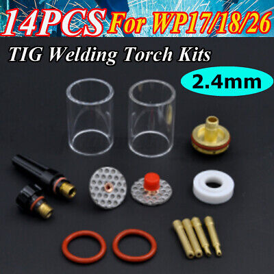 14 Pcs Tig Welding Torch Stubby Gas Lens Glass Cup Kit For Wp171826