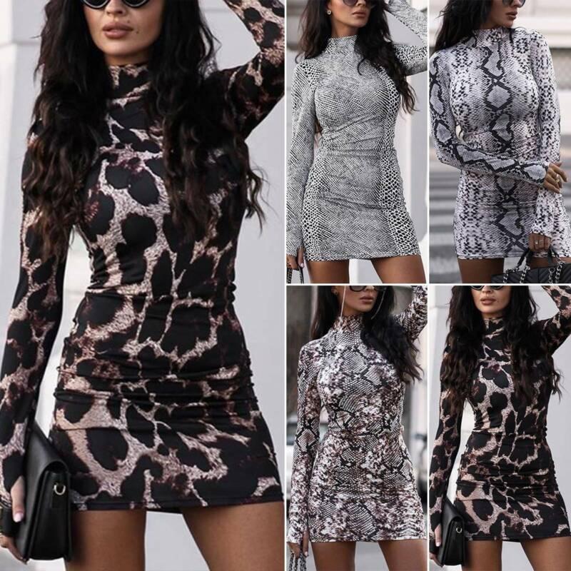 Damen Leopard Minikleid Langarm Partykleid Abendkleid Bodycon Kleider Clubwear