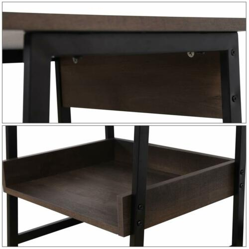 2-Tier End Table, Living Room Night Stand Wood Side Table with Storage 5