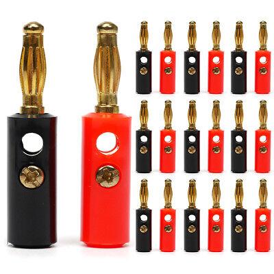 VOSO 20pcs Gold Plated Speaker Audio Jack Connector Banana Plug 10 Red 10 Black
