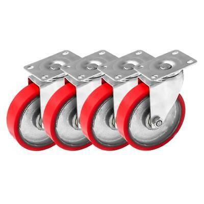4 Pack 4 Heavy Duty Caster Swivel No Brake Red Polyurethane On Cast Iron Wheels