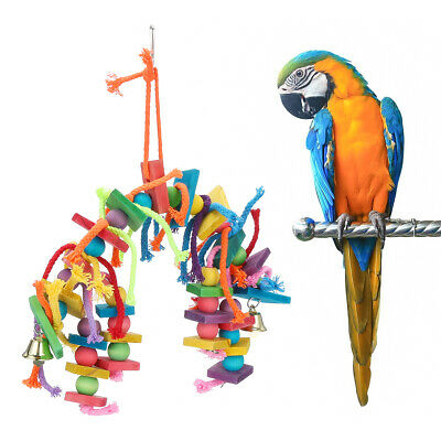 Colorful Parrot Pet Bird Macaw Hanging Chew Toy Bells Wood Blocks Swing Toy Kit