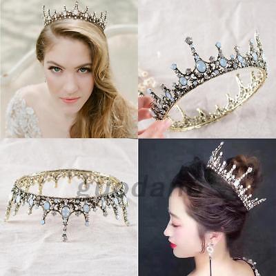 Wedding Bridal Retro Crystal Queen Tiara Crown Headband Prom Hair Accessories