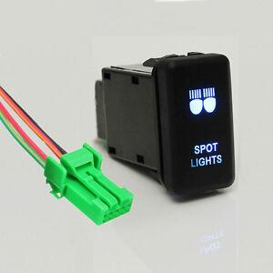 12V Blue LED Spot Light Switch On-Off For Toyota Landcruiser Hilux Prado HIACE