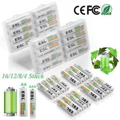 Lot 4/8/12/16 EBL Akkus AA / AAA NI-MH Akku Batterie für Taschenlampe Großhandel