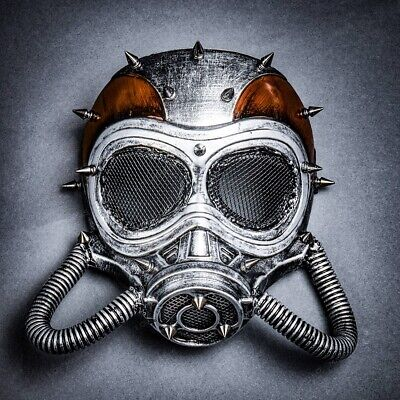 Full Face Burning Man Gas Mask For Halloween Party Costume Dress Up Rusty Silver](Halloween Dress Up For Man)
