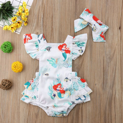 NEW Disney Princess Ariel Little Mermaid Baby Girls Ruffle Romper Headband Set