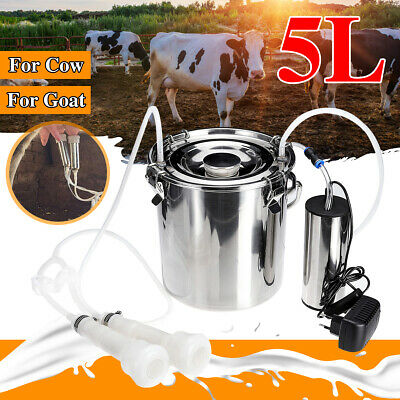 5l Electric Milking Machine Cowgoat Milker Stainless Steel Tank Double Heads