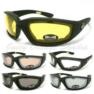 CHOPPERS-BIKER-WRAP-GOGGLE-Sunglasses-FOAM-PADDED-LINING-Soft-Matt-BLACK