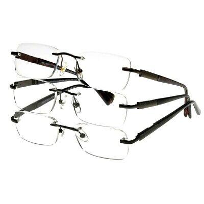 Design Optics 3-Pk Rimless Classic Reader Glasses Choose Strength Open (Design Optics Readers)