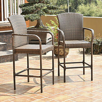 Set Of Two Outdoor Rattan Wicker Bar Chair Seat Patio Furniture With Armrest New Wicker Two Seat