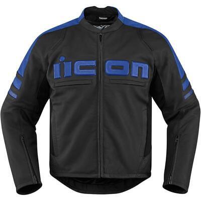Icon Motorhead 2 Leather Jacket Blue (Black, Small)
