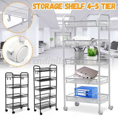 5 Tier Adjustable Steel Shelf Heavy Duty Wire Shelving Rack Storage Wheel Black