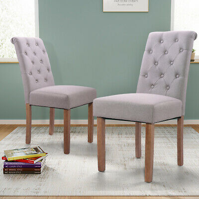 2 PC Tufted Parsons Dining Chair Set w/Rubber Wood Legs Soft Padded Seat (Parsons Chair Set Chair)