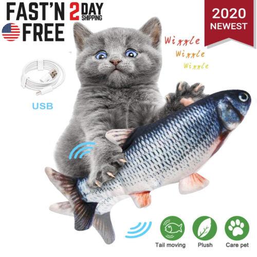 Electronic Pet Cat Toy Electric USB Charging Simulation Pet Dog Cat Fish Toys US