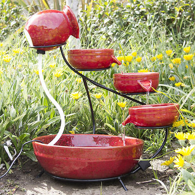 Ceramic Solar Water Fountain Garden Zen Free Standing Weather Proof Red ()