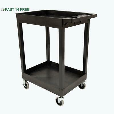 Utility Cart 2 Shelf Black Heavy Duty Rolling Multipurpose Plastic Storage