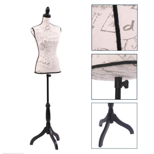 Female Mannequin Torso Dress Form Designer Pattern Display w/ Black Tripod Stand