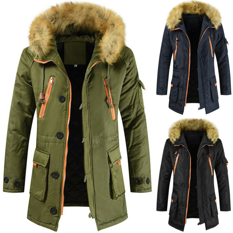 Mens Velvet Lined Jacket Hooded Winter Warm Long Padded Oute