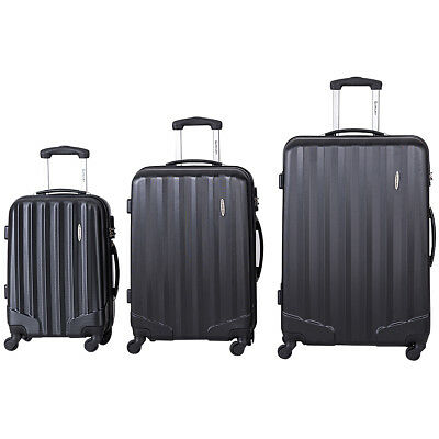 GLOBALWAY 3 Pcs Luggage Travel Set Bag ABS Trolley Suitcase w/TSA Lock Black