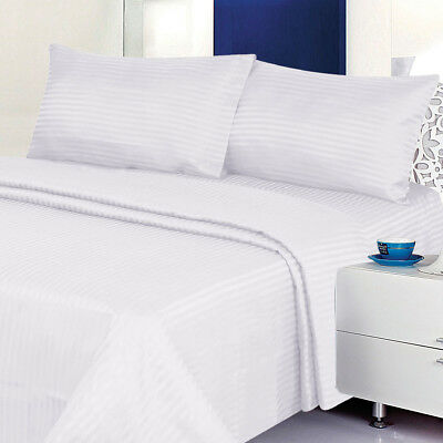 1800 Series 100% Cotton Satin Dobby Stripe Sheet Set- Assort