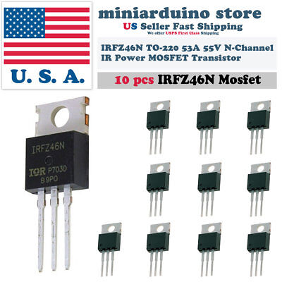 10pcs Irfz46n Irfz46 Power Mosfet Transistor Hexfet 53a 55v Fast Switching Ir