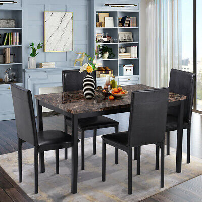 Dining Set 5 pieces Kitchen Table Set Dining Table and 4 PU Leather Chairs Black