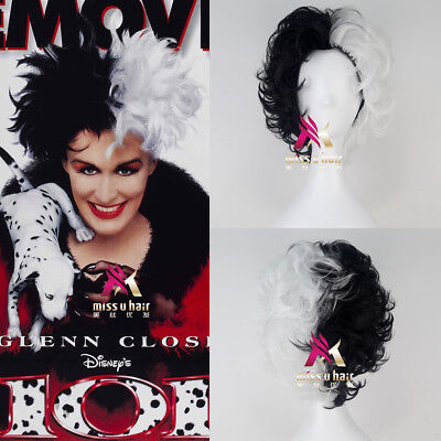 Cruella De Vil Wig (101 Dalmatians Cruella De vil Short Curly Black and White Hair Moive Cosplay)