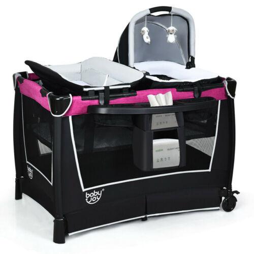 Pink Mobile Playpen Baby Crib Nursery Portable Infant Playard Bed Bassinet Toys