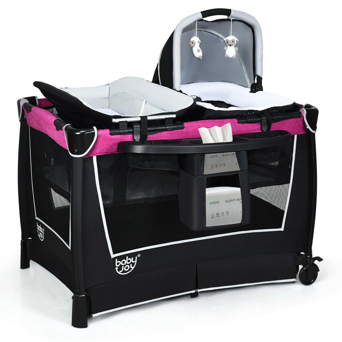 Pink Mobile Playpen Baby Crib Nursery Portable Infant Playar