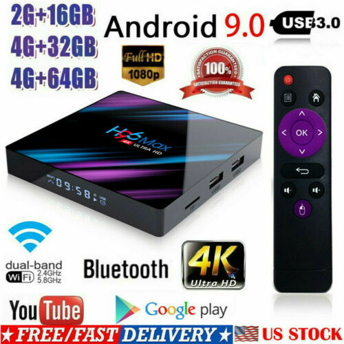 H96 MAX Smart TV BOX Android 9.0 OS 4G RAM 32/64GB Quad Core