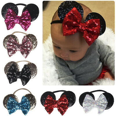 Accessory For Minnie Mouse (Minnie Mouse Ear Bow Sequins Headband Hair Band Accessories for Baby Kids)