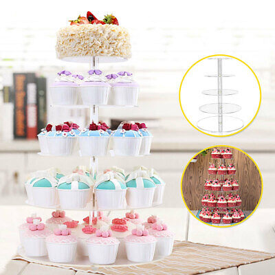 5 Tier Acrylic Cupcake Cake Stand Party Wedding Birthday Tower Display   US