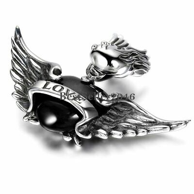 Angel Wings For Men (Silver Stainless Steel LOVE Angel Wings Pendant Necklace 22